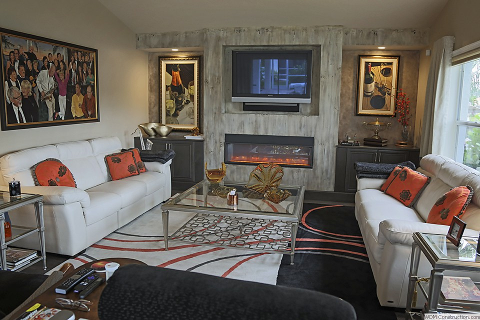 Fireplace Wall With Double Lighted Art Displays Cabinets
